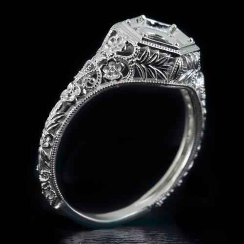 ART NOUVEAU PLATINUM ENGAGEMENT RING SETTING ROUND VINTAGE FLORAL ENGRAVING 6MM