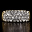 1 CARAT ROUND DIAMOND COCKTAIL RING LARGE BAND 14K YELLOW GOLD NATURAL CLUSTER