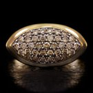 1.20ct FANCY CHAMPAGNE NATURAL DIAMONDS PAVE COCKTAIL RING 14K YELLOW GOLD BAND