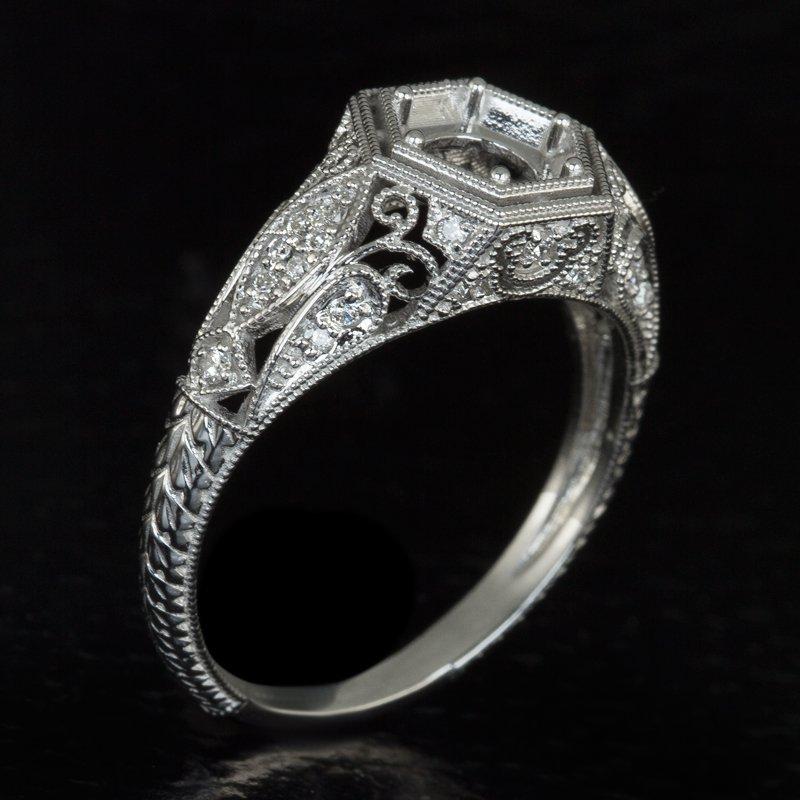 VINTAGE G-H VS1 DIAMOND PLATINUM ENGAGEMENT RING SETTING 6MM ART DECO ENGRAVING