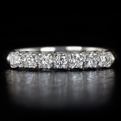 VINTAGE F-H VS ROUND DIAMOND PLATINUM WEDDING BAND 7 STONE COCKTAIL RING RETRO