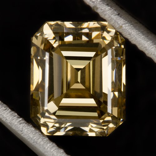 GIA CERTIFIED 1ct FANCY YELLOW CHAMPAGNE VS DIAMOND EMERALD CUT NATURAL ASSCHER