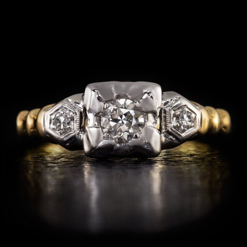 ART DECO 3 STONE ROUND DIAMOND ENGAGEMENT RING OLD TRANSITIONAL CUT 2 TONE GOLD