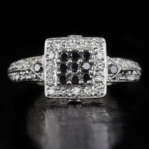 BLACK WHITE NATURAL DIAMOND G SI SQUARE HALO COCKTAIL RING 5.4 GM 14K WHITE GOLD