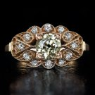 0.75ct ANTIQUE FANCY CHAMPAGNE OLD MINE CUT DIAMOND COCKTAIL RING 14K ROSE GOLD