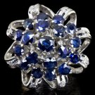 3 CARAT SAPPHIRE DIAMOND BALLERINA COCKTAIL VINTAGE RING CLUSTER 18K WHITE GOLD