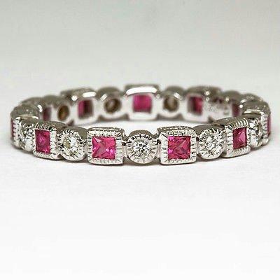 PINK SAPPHIRE PRINCESS DIAMOND VINTAGE STYLE ETERNITY BAND 14K WG COCKTAIL RING