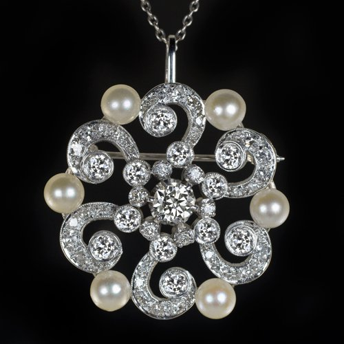 2.70ct 1920s VINTAGE DIAMOND PEARL PIN PENDANT NECKLACE ART NOUVEAU ANTIQUE DECO