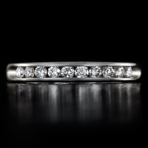 IDEAL CUT ROUND DIAMOND WEDDING BAND STACKING COCKTAIL RING 14K WHITE GOLD FINE