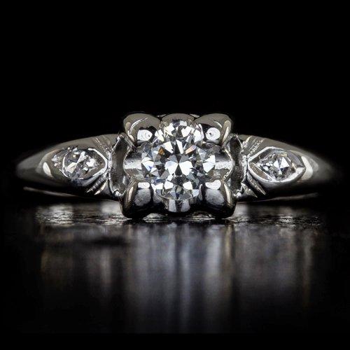 VINTAGE F VS1 EXCELLENT CUT ROUND DIAMOND ENGAGEMENT RING ART DECO TRANSITIONAL