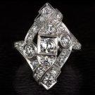 1.50ct ORIGINAL 1920 VINTAGE OLD EURO CUT DIAMOND COCKTAIL RING ART DECO ANTIQUE