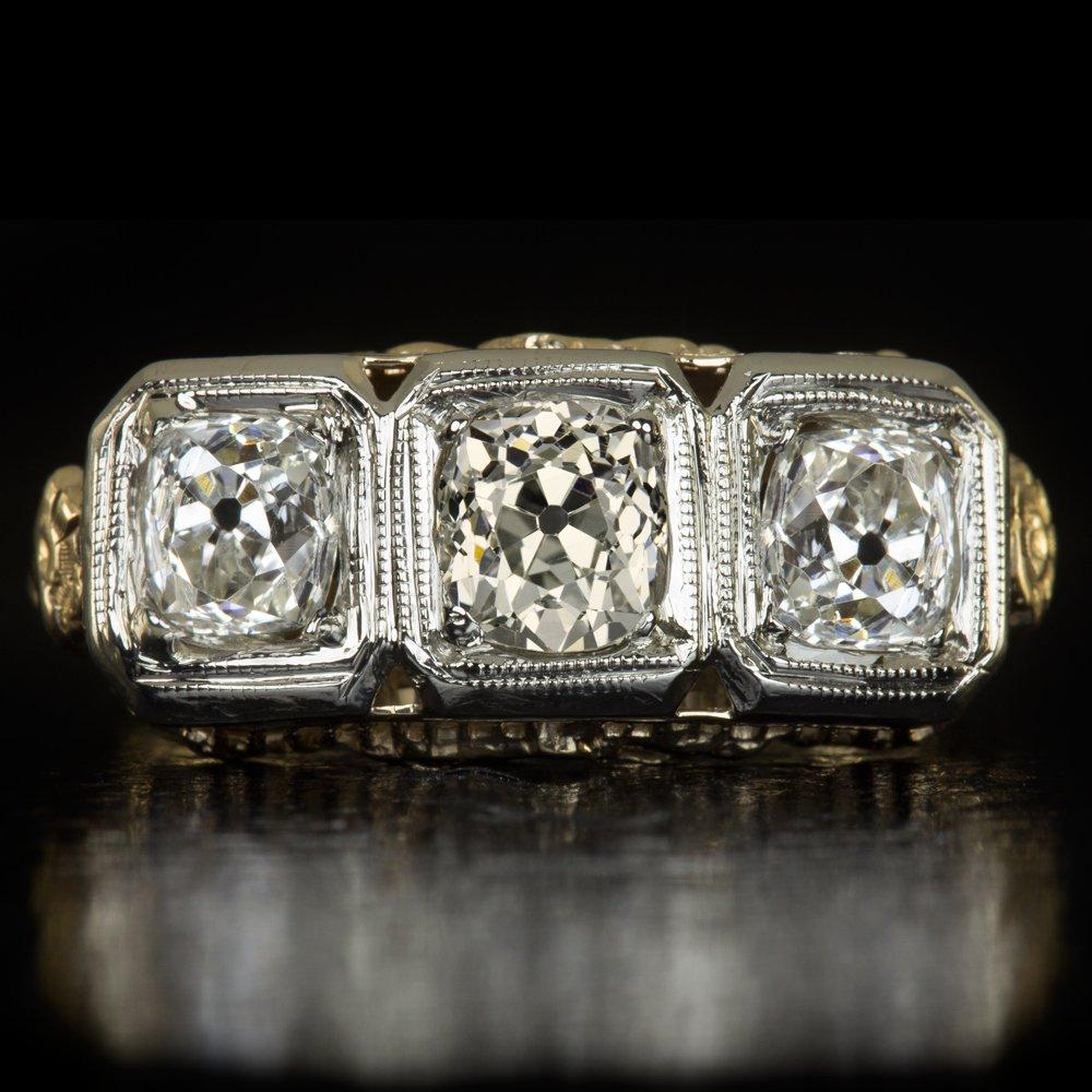 1.75ct ANTIQUE OLD MINE CUT DIAMOND 3 STONE ART DECO FILIGREE ENGAGEMENT RING OM