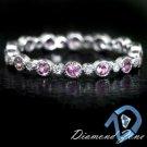 PINK SAPPHIRE NATURAL DIAMOND ROUND ETERNITY 14K WG BAND MILGRAIN DAINTY RING 8