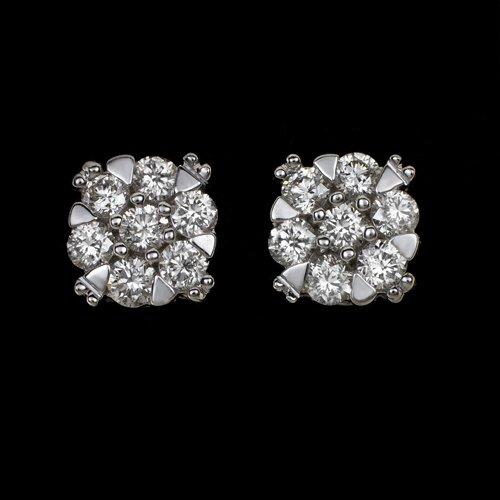 IDEAL CUT 1/2 CARAT H-I VS ROUND DIAMOND STUD EARRINGS 14K WHITE GOLD 0.50ct