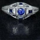 ART DECO KASHMIR BLUE SAPPHIRE VINTAGE ENGRAVED 14K ESTATE RING COCKTAIL LADIES