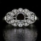 VINTAGE SETTING 5MM-6MM ROUND FLOWER SEMI MOUNT ROUND DIAMOND DECO STYLE RING