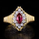 NATURAL RUBY DIAMOND G VS MARQUISE VINTAGE COCKTAIL RING RETRO 14K YELLOW GOLD