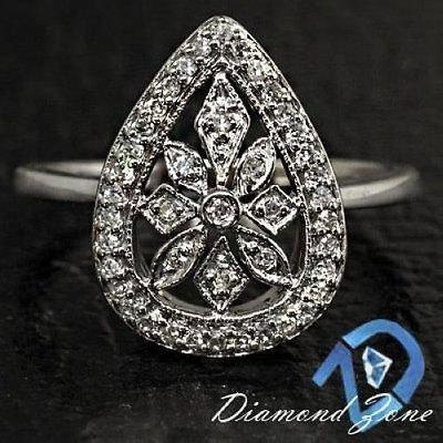 VINTAGE 1/2CT DIAMONDS PEAR SHAPE CLASSIC AR DECO FLORAL ESTATE COCKTAIL RING