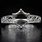PLATINUM VINTAGE ENGAGEMENT RING SETTING ROUND SEMI-MOUNT EDWARDIAN FILIGREE 8MM