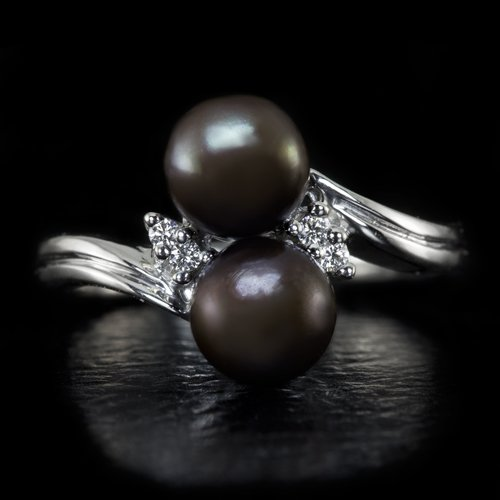 PLATINUM F VS ROUND DIAMOND TAHITIAN PEARL BLACK 2 DOUBLE BYPASS COCKTAIL RING