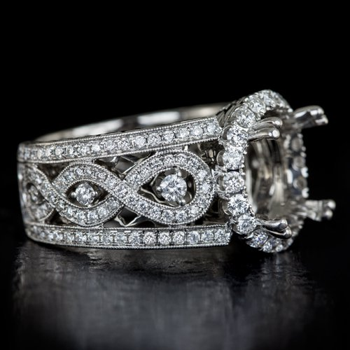 11mm 12mm SEMI MOUNT SETTING IDEAL CUT F VS 1.5ct DIAMOND SIGNED ENGAGEMENT RING