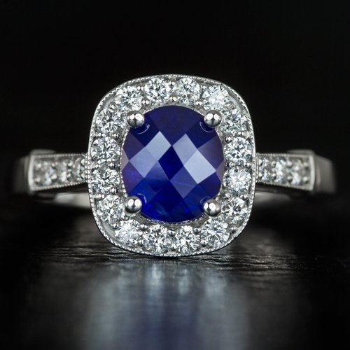1.32ct NATURAL ROYAL BLUE SAPPHIRE CUSHION DIAMOND HALO ENGAGEMENT COCKTAIL RING