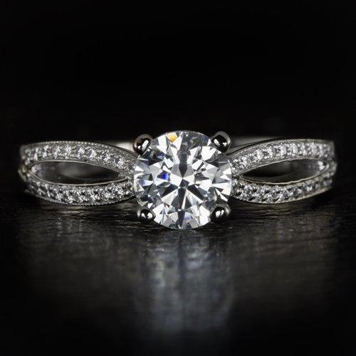 SCOTT KAY SIGNED IDEAL CUT F VS ROUND DIAMOND ENGAGEMENT RING SETTING PALLADIUM
