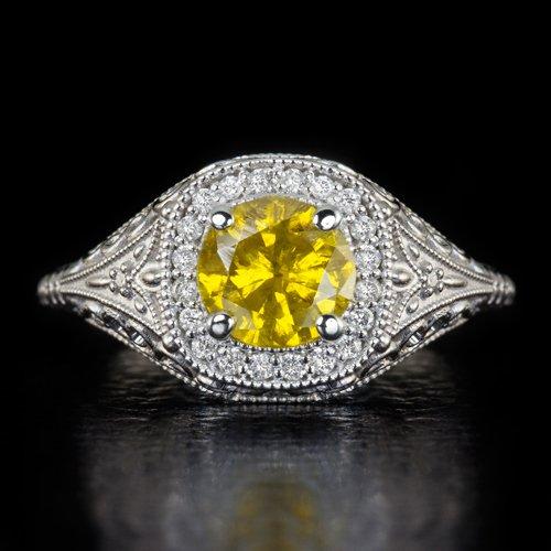 1 CARAT CANARY YELLOW DIAMOND VINTAGE HALO ENGAGEMENT COCKTAIL RING FILIGREE 14K