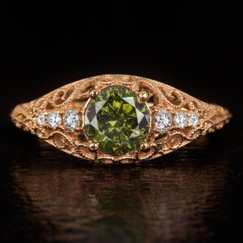 VINTAGE FANCY GREEN ROUND DIAMOND RING ROSE GOLD ART DECO FILIGREE COCKTAIL 1ct