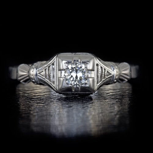 1920s ANTIQUE ART DECO F-G VS1 DIAMOND OLD EURO ENGAGEMENT COCKTAIL RING W GOLD