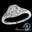 DIAMOND SOLITAIRE VINTAGE FILIGREE ART DECO ENGAGEMENT WHITE GOLD RING NOUVEAU