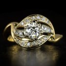 VINTAGE 3/4ct OLD EUROPEAN CUT K VS DIAMOND COCKTAIL RING 14K YELLOW GOLD RETRO