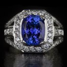 3ct NATURAL TANZANITE 3/4CT G-H VS DIAMONDS COCKTAIL RING BIG 11 GRAM 14K W GOLD