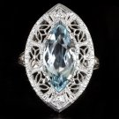 VINTAGE 3.75ct MARQUISE AQUAMARINE DIAMOND FILIGREE COCKTAIL RING 18K WHITE GOLD