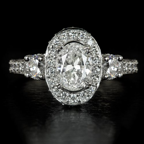 2.65ct OVAL CUT DIAMOND HALO ENGAGEMENT RING EGL-USA CERTIFIED 1.50ctr FILIGREE