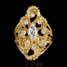 ANTIQUE MARQUISE CUT E VS1 0.90ct DIAMOND ROUND COCKTAIL RING YELLOW GOLD 8 GRAM