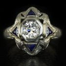 RARE ANTIQUE OLD EUROPEAN CUT DIAMOND BLUE SAPPHIRE 20K WHITE GOLD COCKTAIL RING