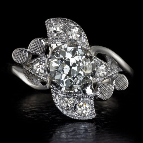 ART DECO 1 CARAT DIAMOND 0.70C OLD CUT ANTIQUE WHITE GOLD VINTAGE COCKTAIL RING