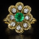 IDEAL CUT VINTAGE NATURAL EMERALD 1/2ct DIAMOND HALO COCKTAIL RING 18K GOLD BIG