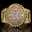 1.14ct G-H VS ROUND DIAMOND COCKTAIL OVAL RING 18K YELLOW GOLD DOME ROPE 8 GRAMS