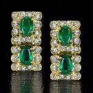 2 CARAT GREEN EMERALD 1/2c ROUND DIAMOND DANGLE EARRINGS 18K YELLOW GOLD VINTAGE