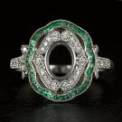 VINTAGE DIAMOND EMERALD HALO ENGAGEMENT RING SETTING OVAL SEMI MOUNT ART NOUVEAU