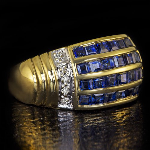 2.20ct NATURAL ROYAL BLUE  SAPPHIRE DIAMOND COCKTAIL RING 14K GOLD VINTAGE BAND