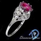 SOLITAIRE RUBY ART DECO VINTAGE FILIGREE FINE 14K WHITE GOLD RING