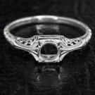 ART DECO PLATINUM ENGAGEMENT RING SETTING 5MM SEMI-MOUNT VINTAGE FILIGREE ROUND