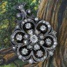 1890 3 CARAT OLD MINE ROSE CUT DIAMOND ANTIQUE SIGNED VICTORIAN PIN PENDANT RARE