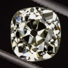 GIA CERTIFIED 1.50ct ANTIQUE OLD MINE CUT DIAMOND FANCY YELLOW CUSHION VINTAGE