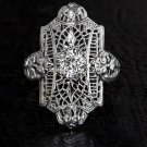 0.62ct OLD EURO DIAMOND VINTAGE ART DECO FILIGREE SOLITAIRE COCKTAIL RING RETRO