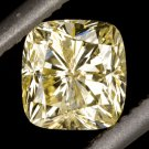 GIA CERTIFIED NATURAL FANCY YELLOW CANARY 1/2ct CUSHION CUT DIAMOND ENGAGEMENT