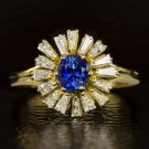 VINTAGE 1.65ct DIAMOND BLUE SAPPHIRE COCKTAIL HALO BALLERINA RING 18K GOLD RETRO